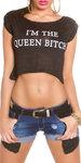"Sexy KouCla Crop Shirt ""I m the Queen Bitch"" in Zwart"