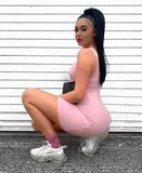 Rib Knit One Shoulder Bodycon Mini Dress in Roze