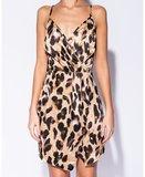 Leopard Print Wrap Detail Cami Mini Dress