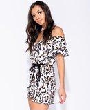 Leopard Print Cold Shoulder Playsuit