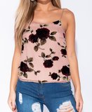 Rose Flocked Print Cami Top
