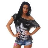 Sexy Jela London Shirt W-3568 in Beige