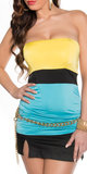 Sexy Colour Blocking Bandeau Top in Geel/Turquoise