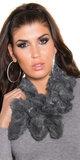 Trendy Fluffy Sjaal met Sequins in Grijs