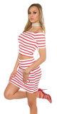 Sexy Short Sleeve Crop Top met Open Shouders in Rood