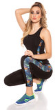 Trendy Workout Outfit met Topje & Leggings in Coloured