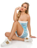 Sexy Bandeau Jumpsuit Gestreept in Turquoise_