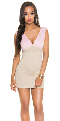 Sexy Fineknitted Party Mini Dress in Roze