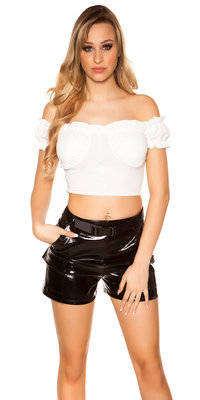 Sexy Crop Shirt Padded in Wit