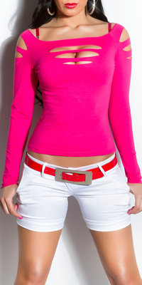 Sexy Longsleeve Dancetop met Cut Outs in Fuschia