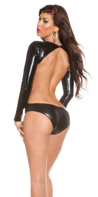 Sexy KouCla Body Wetlook Backless in Zwart