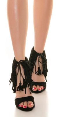 Sexy High Heel Open Suede Look met Fringes in Zwart
