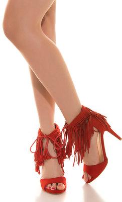 Sexy High Heel Open Suede Look met Fringes in Rood