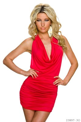 Sexy mini jurk van L.B. Moda in zalm
