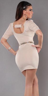 Sexy Minidress met Back Buckle & Riem in Beige