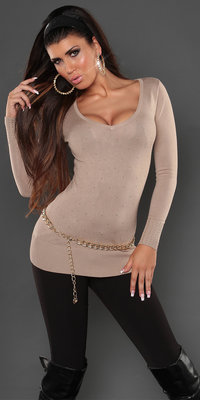 Sexy Koucla long sweater met studs en kant in beige