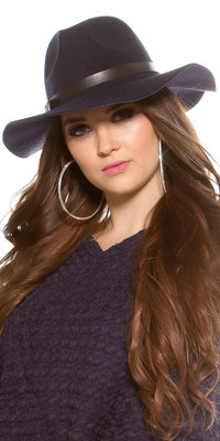 Trendy Fedora Felt Hoed met Leatherette Ribbon in Navy