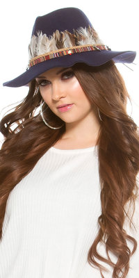 Trendy Fedora Hoed met Deco Feathers & Elements in Navy