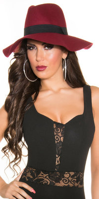 Trendy Fedora Felt Hoed met Ribbon in Bordeaux