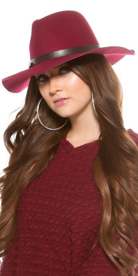 Trendy Fedora Felt Hoed met Leatherette Ribbon in Bordeaux