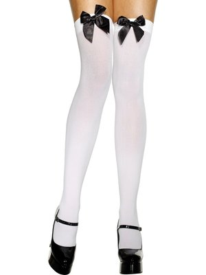 Hold-Up kousen Wit met Zwarte strik
