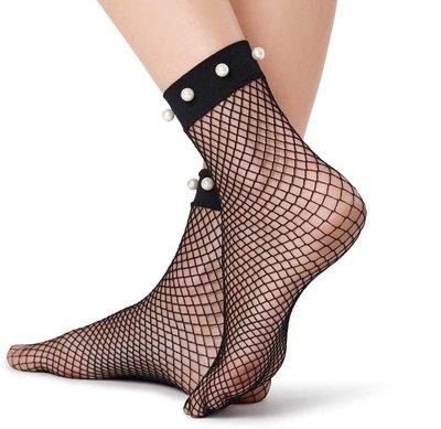 Sexy Net Sok met Parels in Zwart