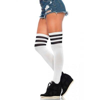 Athletic Hoge Kousen met Zwarte Strepen in Wit