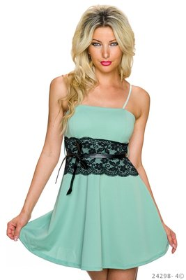 Sexy spaghetti strap mini jurk in turquoise