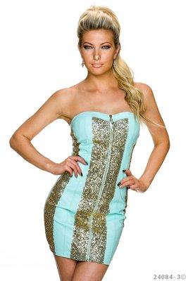 Sexy strapless mini jurk van GIORGIA in turquoise