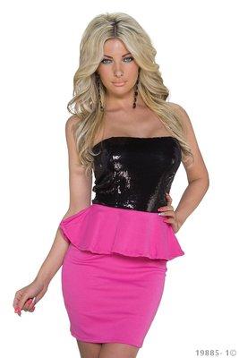 Sexy mantel mini jurk in zwart/fuschia