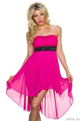 Sexy strapless mini jurk van Lingling in fuschia