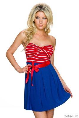 Sexy strapless mini jurk van Italy Moda in rood/blauw