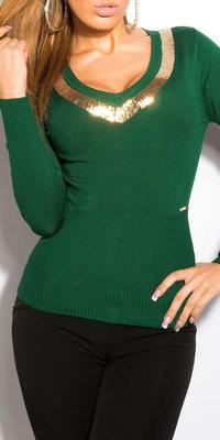 Sexy KouCla V-Cut Sweater met Sequins in Groen