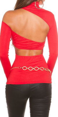 Sexy KouCla One Shoulder Turtlneck Shirt in Rood