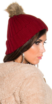Trendy Knitted Muts met Fake Fur Pom Pom in Bordeaux