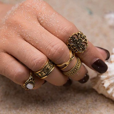 Retro Bohemian Midi Ring Set in Goud