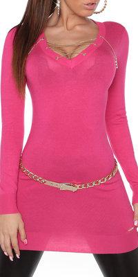 Sexy KouCla Longsweater met Ketting in Fuschia