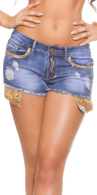 Sexy KouCla Jeans Shorts met Gouden Pailletten