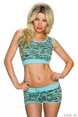 Sexy Set Hotpants + Top van Italy Moda in Turquoise