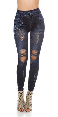 Trendy Jeanslook leggin met scheuren in blauw