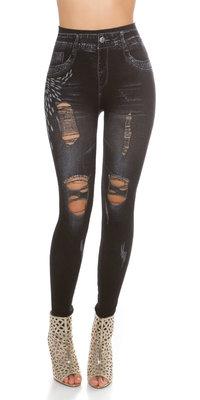 Trendy Jeanslook leggin met scheuren in donker blauw