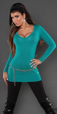 Sexy Koucla long sweater met studs en kant in saffier