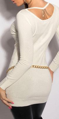 Sexy KouCla longsweater met kettingen op de rug in wit