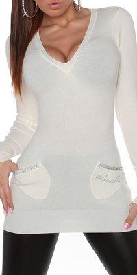 Sexy Lange KouCla trui met zakken in wit