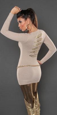 Sexy KouCla longsweater met pailletten op de rug in beige