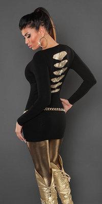Sexy KouCla longsweater met pailletten op de rug in zwart