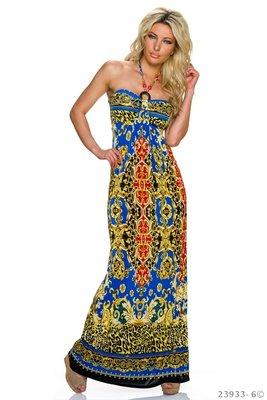 Sexy strapless maxi jurk van Miss 83 in blauw/rood