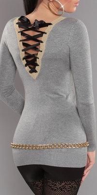 Sexy longsweater met veter detail op de rug in grijs