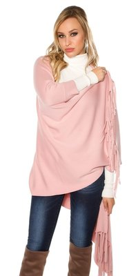 Trendy KouCla 2in1 fine knit cardigan/poncho in Roze