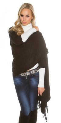 Trendy KouCla 2in1 fine knit cardigan/poncho in Zwart